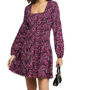 Parker Ruched Bodice Long Sleeve Square Neckline Berry Dress Large